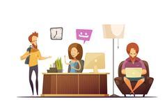 Hostel Reception Design Concept Stock Illustration