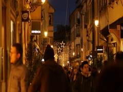Admiring the shopping street in France during holidays Stock Footage
