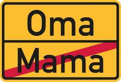 From Mom to grandma street sign Stock Illustration