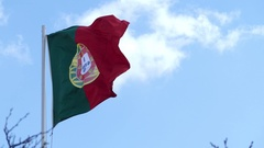 Flag of Portuguese Republic Stock Footage