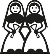 Two brides in bridal gown Stock Illustration