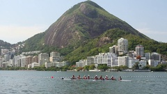 Rowing in lagoon in Rio 2016 Stock Footage