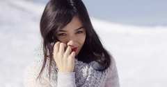 Happy cute asian girl enjoying her winter time Stock Footage
