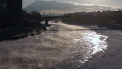 The steam from the frozen river during of strong frosts Stock Footage