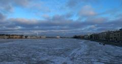 Views of Petersburg, frozen river Neva, embankments Stock Footage