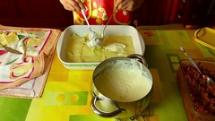 Preparation of lasagna with homemade gluten-free pasta Stock Footage