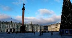 Alexander Column, State Hermitage Museum, Palace Square, Saint Petersburg Stock Footage