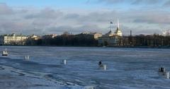 Admiralty building, frozen river, Saint Petersburg, Russia Stock Footage