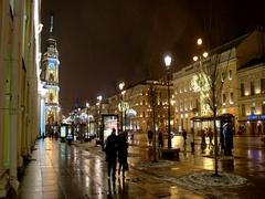 Illuminated Nevsky Prospekt, Saint Petersburg, Russia Stock Footage