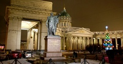 Monument to field Marshal Kutuzov of Smolensk, Kazan Cathedral, Saint Petersburg Stock Footage