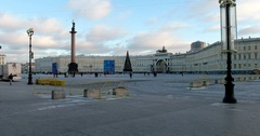 Palace Square, Alexander Column, Main staff, Saint Petersburg, Russia Stock Footage