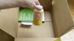Amazon Prime box unboxing with hobby tools Stock Footage
