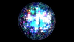 Disco ball 3D animated loop with alpha matte Stock Footage
