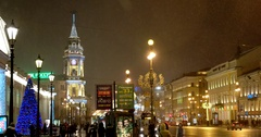 The clock tower on Nevsky prospect, Saint Petersburg, Russia Stock Footage