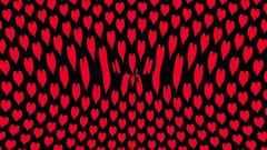 Red love hearts on a black background ripples Stock Footage