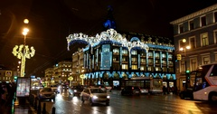 Festive illumination on Nevsky prospect, Saint Petersburg, Russia Stock Footage