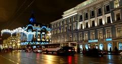 Christmas lighting on Nevsky Prospekt, Saint Petersburg, Russia Stock Footage