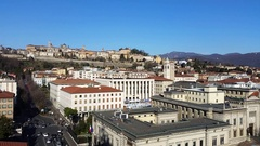 Bergamo. Time Lapse on the old city and the lower city. Stock Footage