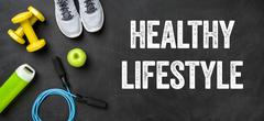 Fitness equipment on a dark background - Healthy lifestyle Stock Photos