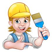 Painter Decorator Woman with Paintbrush Stock Illustration