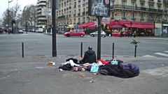 PARIS, FRANCE Steadicam shot of agressive immigrant Stock Footage