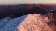 Panning aerial view of Crib Goch in Snowdonia, Wales, UK. Stock Footage