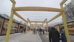 The Christmas Market during New Year celebration Stock Footage