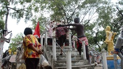 Statues of ghost and zombie (Preta) hell land at Wat Phai Rong Wua Arkistovideo