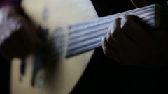Oud Player Close Up Stock Footage