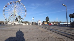 Timelapse of trams and traffic near Pont Wilson Bridge Tours, France Stock Footage