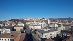 Bergamo - Landscape on the old and lower city. Stock Footage