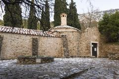 Old stone byzantine monastery in Kaisariani, Athens, Greece Stock Photos