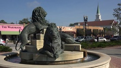 Lion statues San Marco square, Jacksonville, Florida, USA Stock Footage