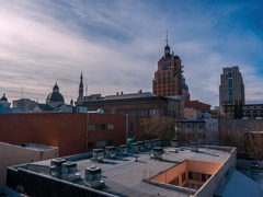 Urban Skyline And Rooftops Time Lapse Stock Footage