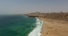 Aerial view of beach and Coastline in Oman Stock Footage