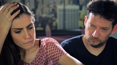 Couple unhappy about negative pregnancy test result Stock Footage
