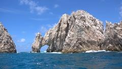 The natural arch called El Arco de Cabo San Lucas in Cabo San Lucas, Mexico. Stock Footage