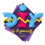 DIY Acronym. Do It Yourself. 90 s Vibrant Colors Aesthetic Typ Stock Illustration