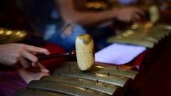 Playing indonesian gamelan part - Saron Stock Footage