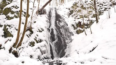 Snowy waterfall in winter forest. Basalt stones bellow covered by powder snow. Stock Footage