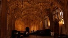OXFORD, UNITED KINGDOM - NOVEMBER 5, 2015- Bodleian Library Gothic Interior Stock Footage
