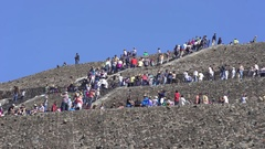 Crowd of people on Teotihuacan sun pyramid - Mexico City Stock Footage