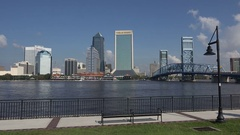 Jacksonville skyline over St Johns River, Florida, USA Stock Footage