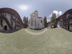 Inner court of Prejmer Fortified church in Transylvania Romania, 360 video Stock Footage