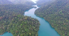 Aerial photography around the lagoon Stock Footage