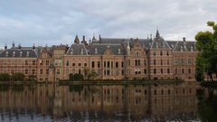 Binnenhof Waterfront (Dutch Parliament), The Hague, Netherlands Stock Footage