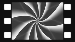 Animated abstract illustration of black and white spirals rotating in film frame Stock Footage
