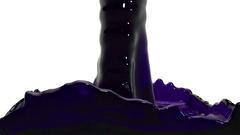Jet of transparent violet liquid fill up screen, alpha matte included. 3d render Stock Footage