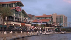 Jacksonville Landing Riverfront, Florida, USA pan left to right Stock Footage