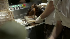 Chef to Make Delicious Chocolate Candy on Factory of Chocolate Stock Footage
